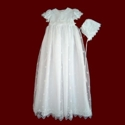 Click to Enlarge Picture - Girls Cross Embroidered Organza Detachable Christening Gown