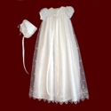 Embroidered Organza Christening Gown with Crosses Gown & Bonnet