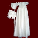 Girls Christening Dress with Detachable Embroidered Organza Gown