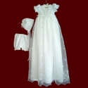 Bow Embroidered Organza & Satin Girls Christening Dress with Detachable Gown & Bonnet