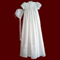Click to Enlarge Picture - Embroidered Eyelet Christening Gown, Slip & Bonnet