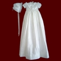 Silk Girls Dress with Panties and Detachable Gown, Monogrammed Bib and Bonnet