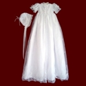 Click to Enlarge Picture - Embroidered Organza With Crosses & Shamrocks Christening Gown & Bonnet