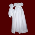 Click to Enlarge Picture - Satin Bow With Detachable Organza Christening Gown, Short dress & Bonnet