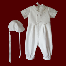 Click to Enlarge Picture - Boys Christening Romper & Vest With Embroidered Cross & Hat