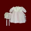 Silk Organza With Pink Batiste Girls Christening Gown, Slip & Bonnet