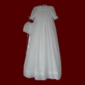 Click to Enlarge Picture - Hand Smocked 100% Cotton Christening Gown, Slip & Bonnet