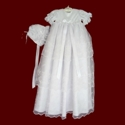 Click to Enlarge Picture - Girls 3 Tier Organza Christening Gown, Slip & Bonnet