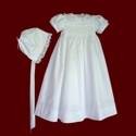 Click to Enlarge Picture - Hand Smocked Christening Gown With Crosses & Rosebuds