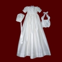 Silk Christening Gown With Pintucked Bodice With Pearls & Bonnet