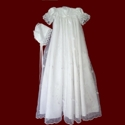 Rosebud Embroidered Organza Gown With Bonnet