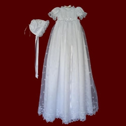 Embroidered Crosses With Beaded Trim Christening Gown