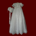 Click to Enlarge Picture - Embroidered Crosses With Beaded Trim Christening Gown