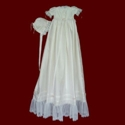 English Netting Lace & Silk Dupione Christening Gown & Bonnet