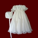 Click to Enlarge Picture - Embroidered Netting & Pink Rosebud Silk Christening Gown