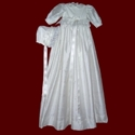 Velveteen & Silk Dupione Christening Gown With Marabou Boa