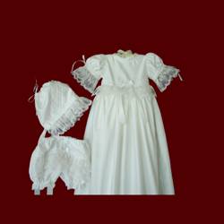 Click to Enlarge Picture - Shantung Girls Detachable Gown With Embroidered Organza Lace