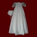 Silk Girls Christening Dress With Detachable Gown & Bonnet