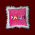 Click to Enlarge Picture - Girls Personalized Minky Pillow With Boa