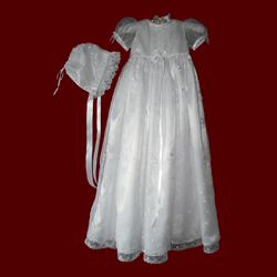 Click to Enlarge Picture - Organza With Flowers Girls Christening Gown & Bonnet