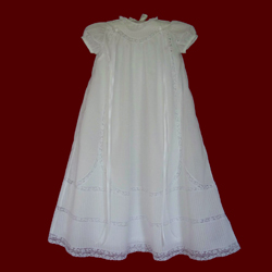 Click to Enlarge Picture - Pintucks & Lace Heirloom Christening Gown, Slip & Bonnet