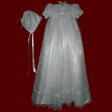Click to Enlarge Picture - Organza with Bows Christening Gown, Personalized Slip & Bonnet