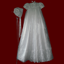 Click to Enlarge Picture - Scalloped Embroidered Organza with Crosses & Heart Christening Gown, Slip & Bonnet