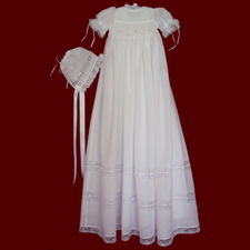 Click to Enlarge Picture - Hand Smocked Girls Cotton Christening Gown With French Lace, Slip & Bonnet