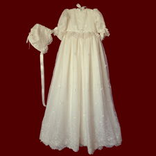 Click to Enlarge Picture - Embroidered Floral Organza with Hearts & Beaded Trim Christening Gown, Personalized Slip & Bonnet