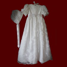 Click to Enlarge Picture - Chantilly Lace Girls Christening Gown, Slip & Bonnet, Size 3-6 Months