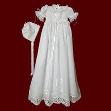 Click to Enlarge Picture - Thistle & IHS Cross Irish Linen Christening Gown, Personalized Slip & Bonnet