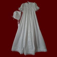Satin Batiste Girls Christening Gown With Heart Venice Lace, Slip & Bonnet