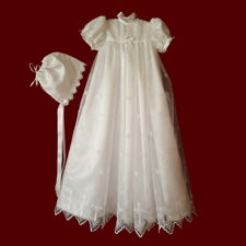 Click to Enlarge Picture - Embroidered Organza With Crosses Christening Gown, Personalized Slip & Bonnet, Size 3-6 Months