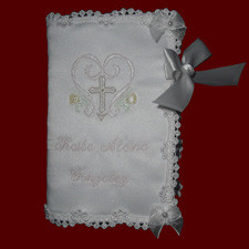 Click to Enlarge Picture - Girls Keepsake Bible With Embroidered Cross