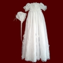 Click to Enlarge Picture - Beaded Organza With Flowers Christening Gown, Slip & Bonnet