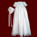 Click to Enlarge Picture - Sequin & Beaded Organza Christening Gown & Bonnet