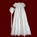 Embroidered Organza With Hearts Christening Gown, Slip & Bonnet