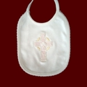 Click to Enlarge Picture - Cotton Knit Christening Bib With Celtic Cross