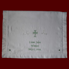 Click to Enlarge Picture - Embroidered Cross & Shamrocks Christening Blanket