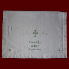 Embroidered Cross & Shamrocks Christening Blanket