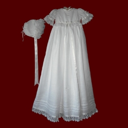 Click to Enlarge Picture - Irish Linen Girls Hail Mary Christening Gown With Shamrock Lace