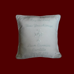 "Click to Enlarge Picture - ""May The Lord Bless You Always"" Christening Pillow"