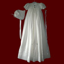 Click to Enlarge Picture - Irish Linen Unisex Embroidered Guardian Angel Prayer Gown, Personalized Slip & Bonnets