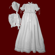 Click to Enlarge Picture - Irish Linen Detachable Christening Gown with Short Dress & Celtic Cross with Swarovski Crystals