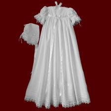 Click to Enlarge Picture - Irish Linen Shamrock Lace & Satin Ribbon Girls Christening Gown With Celtic Cross & Shamrocks