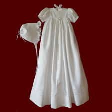 Click to Enlarge Picture - Traditional Unisex Irish Christening Gown with Shamrock Swirl Border & Celtic Cross, Slip & Hat