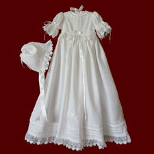 Click to Enlarge Picture - Hearts & Shamrocks Girls Irish Linen Christening Gown, Personalized Slip & Bonnet, Size 3-6 Months