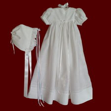 Click to Enlarge Picture - Unisex Embroidered Celtic Cross Irish Christening Gown, Slip & Bonnet, Size 3-6 Months