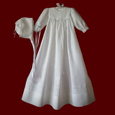 Click to Enlarge Picture - Angel of God Irish Linen Unisex Christening Gown With Magic Hanky Bonnet, Size 3-6 Months