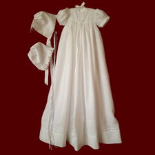 Click to Enlarge Picture - St. Brigids Unisex Christening Gown, Personalized Slip & Bonnet
